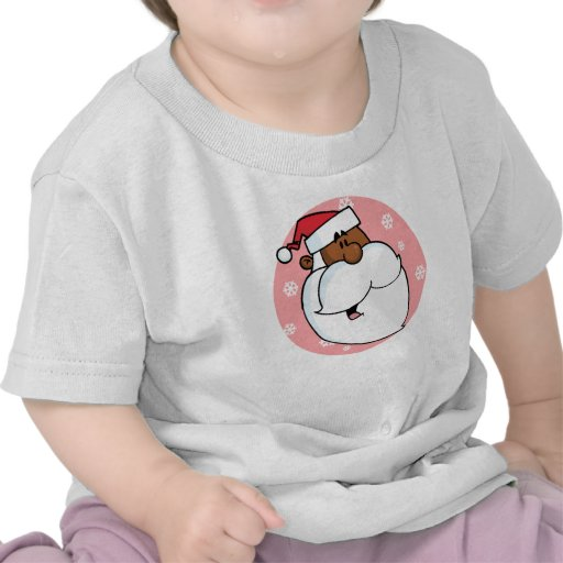 Dibujo animado negro de Santa (rosa) Camiseta