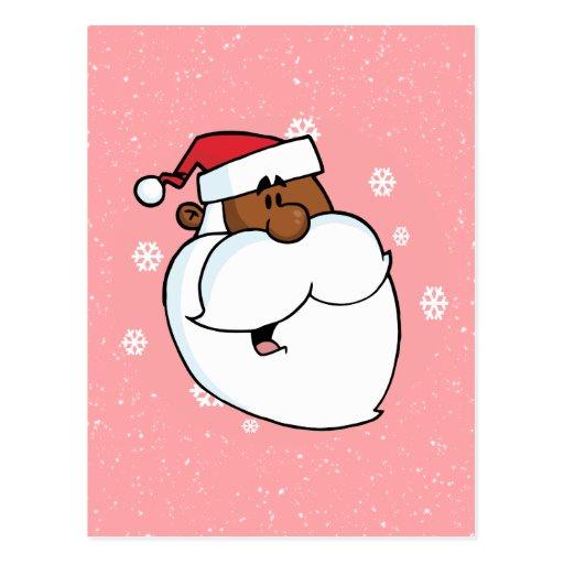 Dibujo animado negro de Santa (rosa) Tarjetas Postales