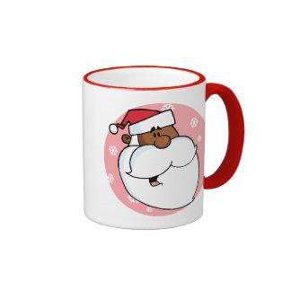 Dibujo animado negro de Santa (rosa) Tazas