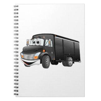 Dibujo animado negro del camión de la bebida note book