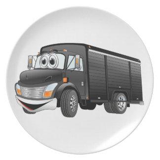 Dibujo animado negro del camión de la bebida plato para fiesta