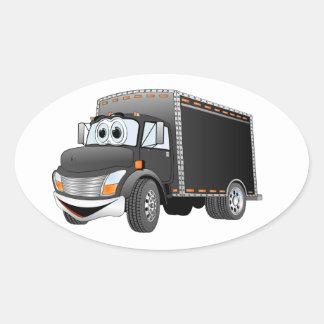 Dibujo animado negro del camión de reparto pegatina ovalada