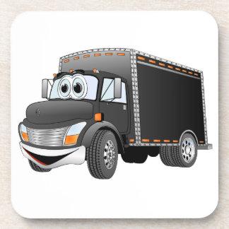 Dibujo animado negro del camión de reparto posavasos