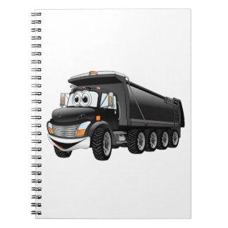 Dibujo animado negro del camión volquete 10w libro de apuntes con espiral