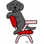 Dibujo animado negro del estudiante 3 de Labrador Escultura Fotográfica