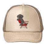 Dibujo animado negro del estudiante 3 de Labrador Gorros Bordados