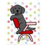 Dibujo animado negro del estudiante 3 de Labrador Postal