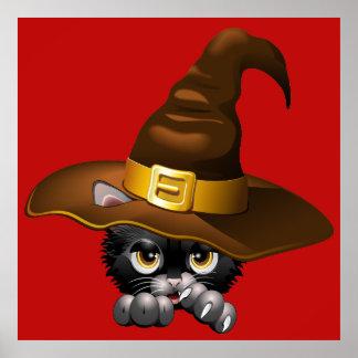 Dibujo animado negro del gatito con los posters de
