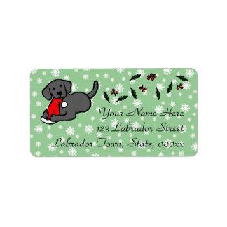 Dibujo animado negro del navidad de Labrador Etiquetas De Dirección