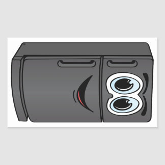 Dibujo animado negro del refrigerador pegatina rectangular
