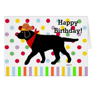 Dibujo animado negro del vaquero de Labrador Tarjeta De Felicitación