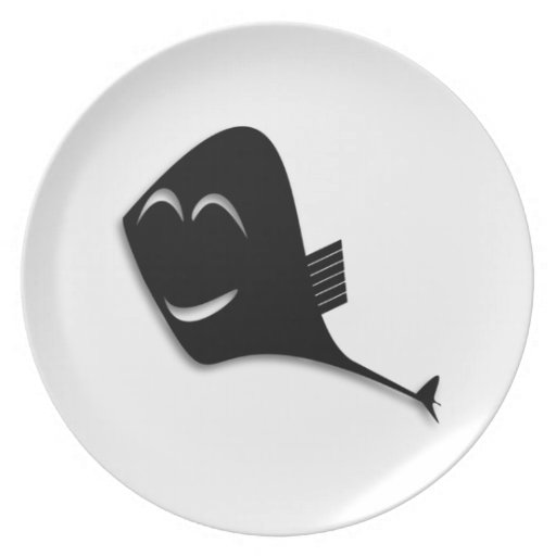 Dibujo animado negro feliz de los pescados platos de comidas