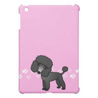 Dibujo animado negro lindo del caniche - pata rosa