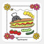 Dibujo animado negro personalizado de la panadería pegatina cuadrada