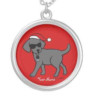 Dibujo animado negro personalizado del navidad de collar plateado