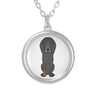 Dibujo animado negro y del moreno del Coonhound de Colgante Redondo