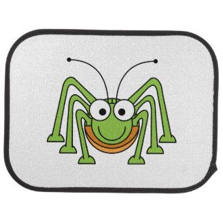 Dibujo animado observado insecto del saltamontes alfombrilla de auto