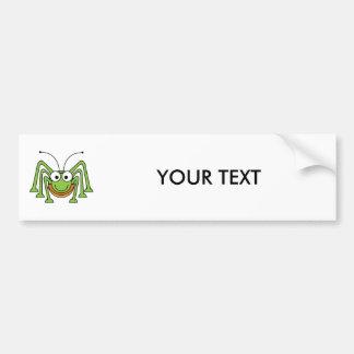 Dibujo animado observado insecto del saltamontes etiqueta de parachoque