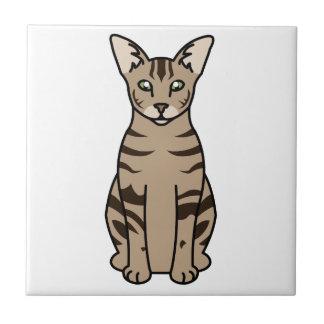 Dibujo animado oriental del gato de Tabby Azulejo Cuadrado Pequeño