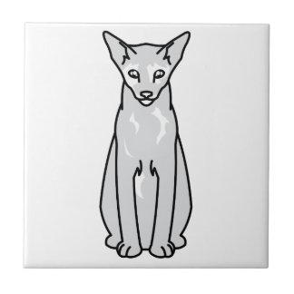 Dibujo animado oriental del gato de Tortie Azulejo Cuadrado Pequeño