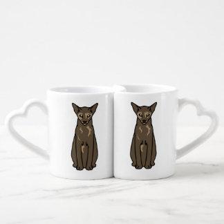 Dibujo animado oriental del gato de Tortie Taza Para Parejas
