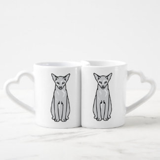 Dibujo animado oriental del gato de Tortie Tazas Para Parejas