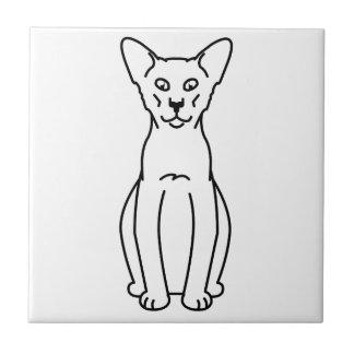 Dibujo animado oriental del gato del canela y del azulejo cuadrado pequeño