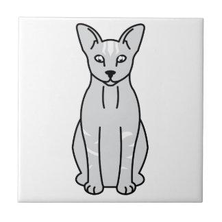 Dibujo animado oriental del gato del humo azulejo cuadrado pequeño