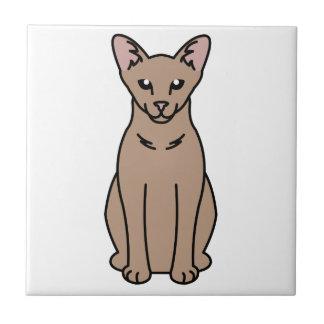 Dibujo animado oriental del gato del uno mismo azulejo cuadrado pequeño