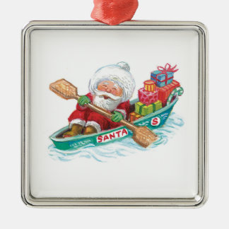 Dibujo animado Papá Noel alegre, barco de fila con Adorno Cuadrado Plateado
