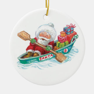 Dibujo animado Papá Noel alegre barco de fila con Ornamento De Navidad