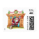 Dibujo animado Papá Noel alegre que viene abajo un Franqueo