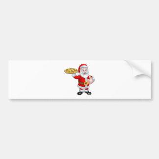 Dibujo animado Papá Noel que sostiene la pizza Pegatina Para Auto