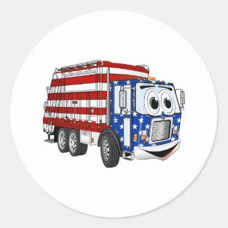 Dibujo animado patriótico del camión de basura pegatina redonda