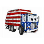Dibujo animado patriótico del camión de basura postal