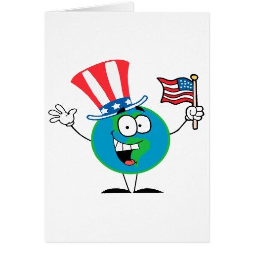 dibujo animado patriótico lindo los E.E.U.U. del g Felicitación
