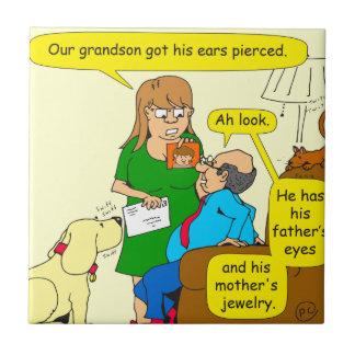dibujo animado peirced nieto de 779 oídos azulejo cuadrado pequeño