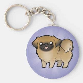 Dibujo animado Pekeingese perrito cortado Llaveros Personalizados