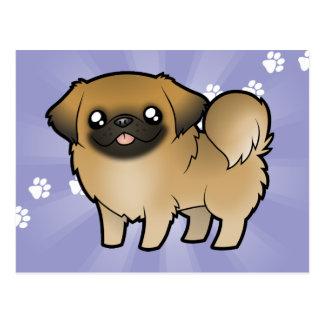 Dibujo animado Pekeingese (perrito cortado) Postales