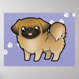 Dibujo animado Pekeingese (perrito cortado) Póster