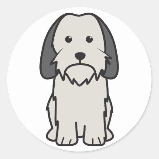 Dibujo animado pequeno del perro de Griffon Vendee Pegatina Redonda