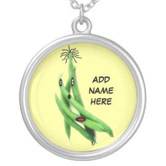 Dibujo animado personalizado de la haba verde colgante redondo