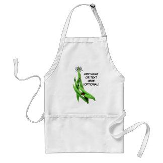 Dibujo animado personalizado de la haba verde delantales