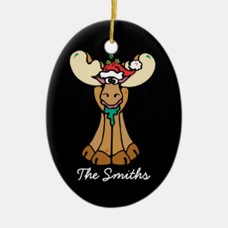 Dibujo animado personalizado de los alces del adorno navideño ovalado de cerámica