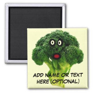 Dibujo animado personalizado del bróculi imán cuadrado