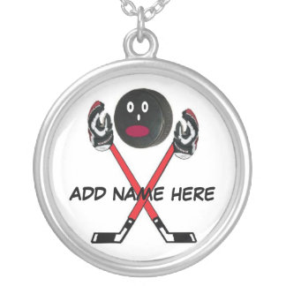 Dibujo animado personalizado del hockey colgante redondo