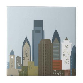 Dibujo animado Philadelphia Azulejo Cuadrado Pequeño