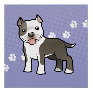 Dibujo animado Pitbull/Staffordshire Terrier ameri Poster
