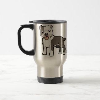 Dibujo animado Pitbull/Staffordshire Terrier ameri Tazas De Café