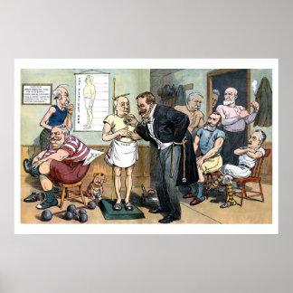 Dibujo animado político 1907 del viejo vintage del impresiones